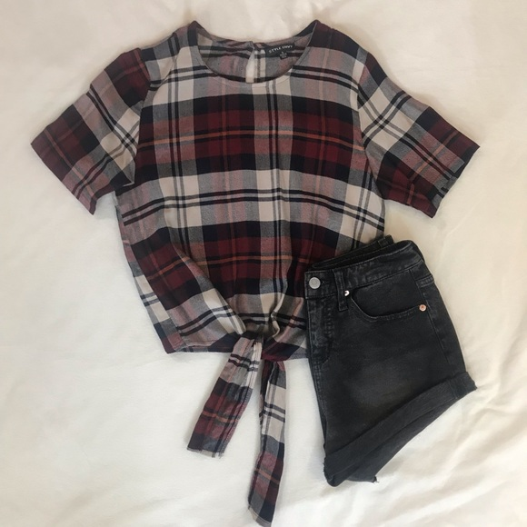 Style Envy Tops - Flannel Crop Top - brand is Style Envy